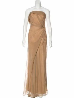 Donna Karan Strapless Silk Gown Beige