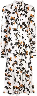 Derek Lam Floating Floral Long Sleeve Maxi Shirt Dress with Pleats