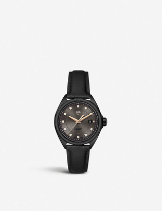 Tag Heuer WBJ1417.FC8234 Formula 1 PVD steel and leather watch