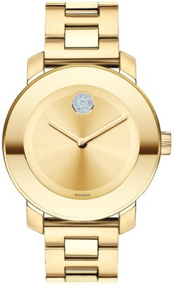 Movado BOLD Crystal & Goldtone Stainless Steel Bracelet Watch