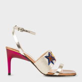 Paul Smith Women's Metallic Leather 'Stella' Heeled Sandals With Star Appliqué