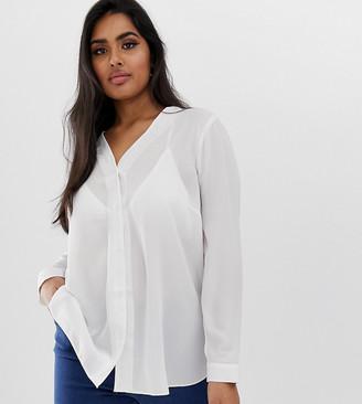 Asos DESIGN Curve long sleeve v neck blouse-White