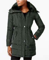 Kenneth Cole Faux-Fur-Collar Hooded Down Puffer Coat