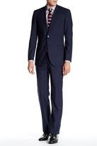 English Laundry Mini Gingham Two Button Peak Lapel Wool Suit