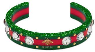 Gucci Crystal & Stud Stripe Cuff