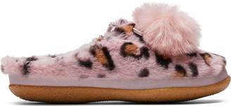 Pink Cheetah Faux Fur with Tassels Women's Ivy Slippers