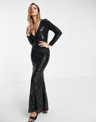 Club L London Club L wrap front sequin maxi dress with fishtail in black