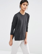 Selected Maia Fine Gage Sweater in Dark Gray Melange