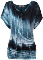 DJT Women's Cowl Neck Short Sleeve Draped Dolman Shirt Tunic Top
