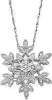 JCPenney FINE JEWELRY diamond blossom 1/10 CT. T.W. Diamond Cluster Snowflake Sterling Silver Pendant