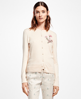 Brooks Brothers Supima® Cotton Vintage Floral-Embroidered Cardigan