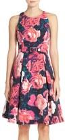 Eliza J Petite Women's Belted Floral Print Fit & Flare Dress
