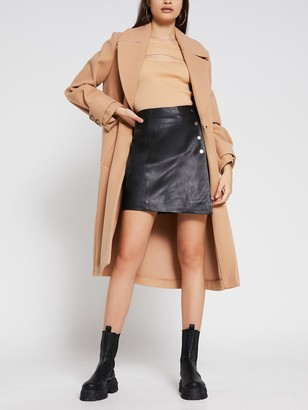 River Island Leather A-line Skirt - Black
