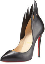 Christian Louboutin Victorina Flame 100mm Red Sole Pump, Black