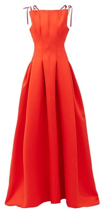 Maison Rabih Kayrouz High-neck Pleated Faille Gown - Red
