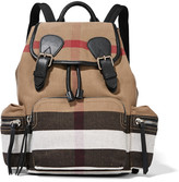 Burberry Medium Leather-trimmed Checked Canvas Backpack - Brown