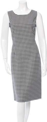 Oscar de la Renta Checkered Print Sleeveless Sheath Dress w/ Tags