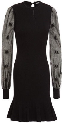 Alexander McQueen Burnout-effect Embroidered Ribbed-knit Mini Dress