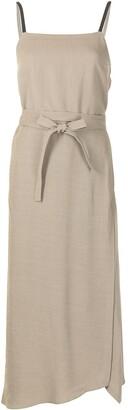 Brunello Cucinelli Belted Asymmetric-Hem Wrap Dress