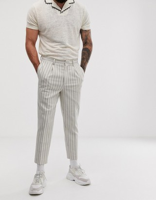 ASOS DESIGN tapered crop smart trousers in off white wool mix stripe