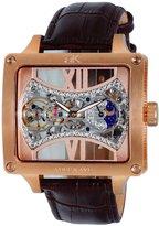 Adee Kaye Men's Edge 53mm Calfskin Band Steel Case Automatic Watch Ak2297-Mrg