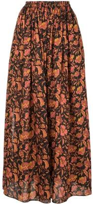 Matteau Pink Hibiscus A-line maxi skirt