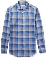 Etro Mercurino Slim-Fit Checked Linen Shirt