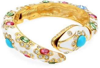 Kenneth Jay Lane 22K Goldplated, Enamel & Multi-Color Crystal Snake Hinge Bracelet