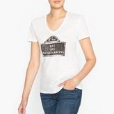 Ikks Linen T-Shirt with Printed Motif