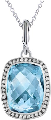 Peter Thomas Roth Sterling 11.80 ct Blue Topaz Halo Pendant
