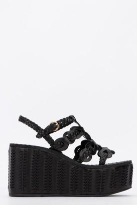 Prada Braided Detail Wedge Sandals
