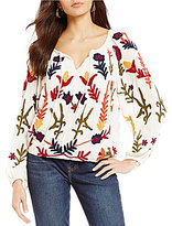 Chelsea & Theodore Floral Peasant Embroidered Blouse