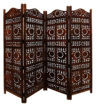Bloomsbury Market Jarett Carved Sun and Moon 4 Panel Room Divider Bloomsbury Market