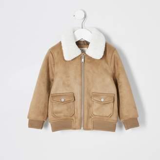 River Island Mini boys Tan faux suede borg bomber jacket