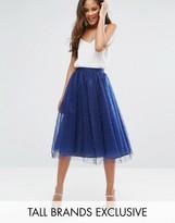 Little Mistress Tall Allover Pearl Embellished Full Midi Prom Skirt
