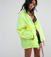 Reclaimed Vintage Inspired Festival Neon Rain Trench Jacket With Concealed Hood