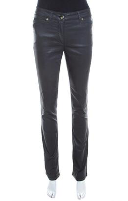 Escada Grey Coated Stretch Denim Straight Leg Jeans S