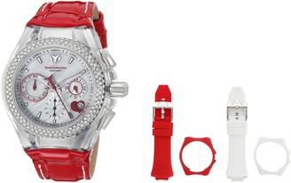 Technomarine Women's Cruise Stainless Steel Quartz Watch with Leather Calfskin Strap red 20 (Model: TM-117001)