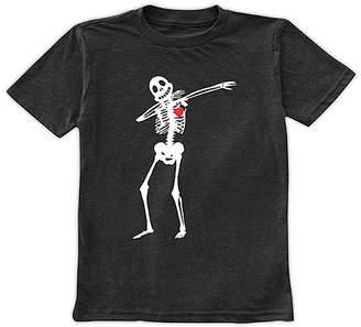 Urban Smalls Boys' Tee Shirts Charcoal - Charcoal Dabbing Skeleton with Heart Tee - Toddler & Boys