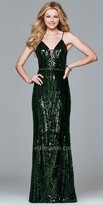Faviana Sequin Open Back Column Prom Dress