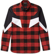 Neil Barrett Poplin-panelled Checked Cotton-flannel Shirt - Red