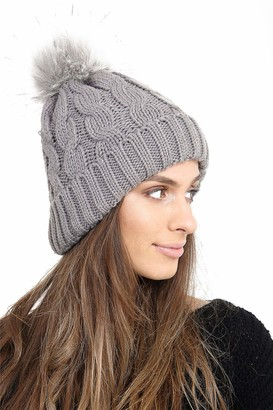 Heat Machine Womens Pom Pom Fleece Beanie Hat with Signature Cosy Lining Grey