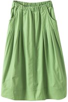 ACHICGIRL Women's Essential Pockets Pleated Midi A-Line Skirt