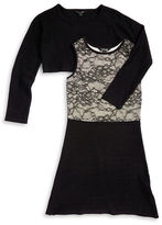 Marciano Girls 7-16 Lace Popover Dress and Cropped Sweater Set