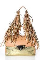 Sara Battaglia Peach Leather Gold Metallic Fringe Embellished Shoulder Handbag