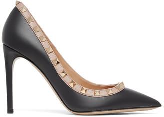 Valentino Black and Pink Garavani Rockstud 100 Heels