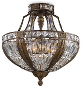 Bed Bath & Beyond Millwood 6 Light Semi-Flush Mount Ceiling Light Fixture With Antique Bronze Finish and Crystal Shade