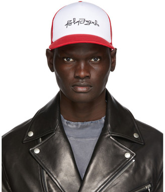 Palm Angels White and Red Desert Logo Mesh Cap