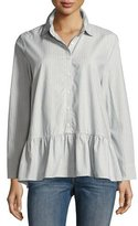The Great The Drop Ruffle Oxford Top, Indigo