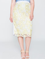 ELOQUII Plus Size Two-Tone Lace Pencil Skirt